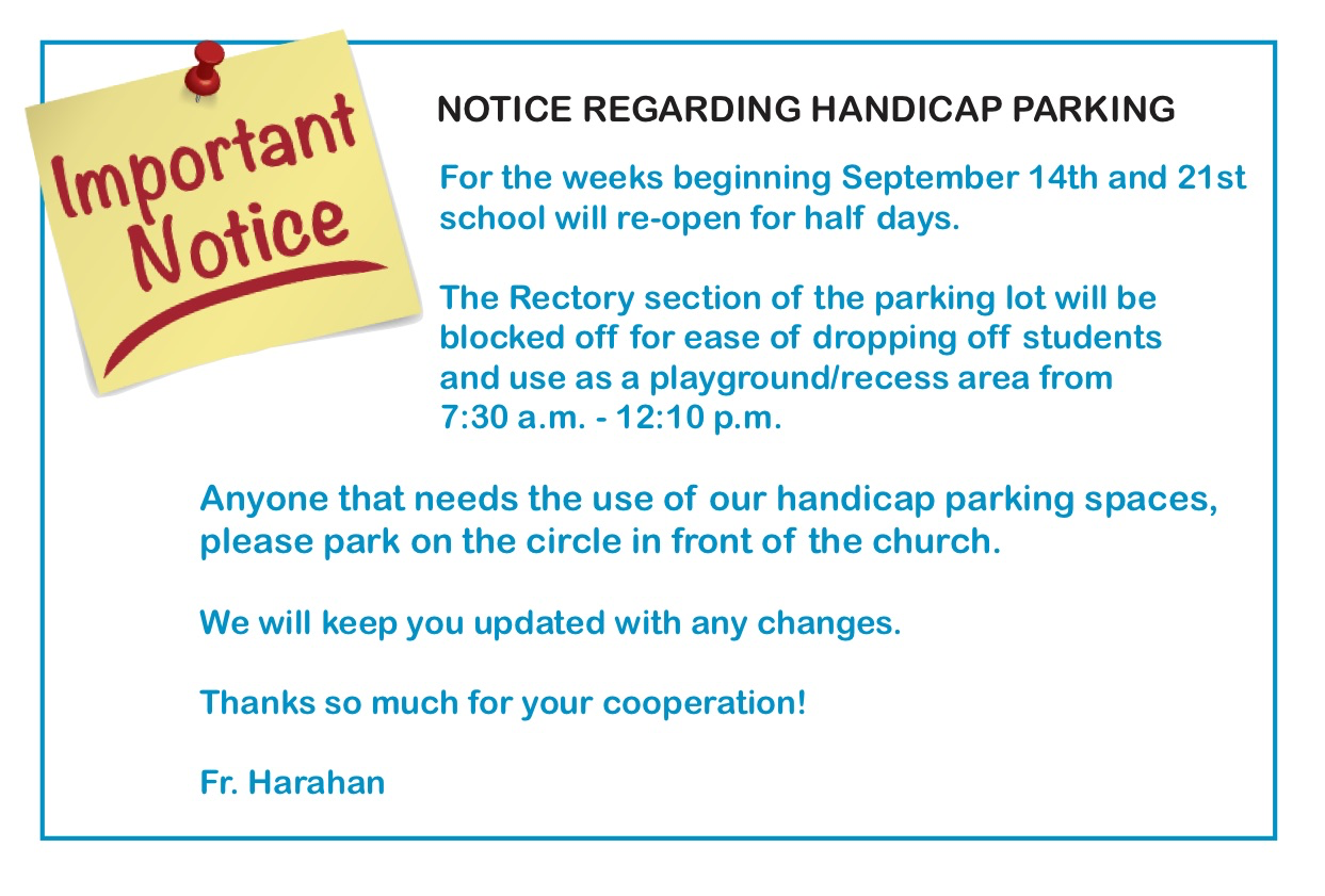 Important Notice Re Handicap Parking