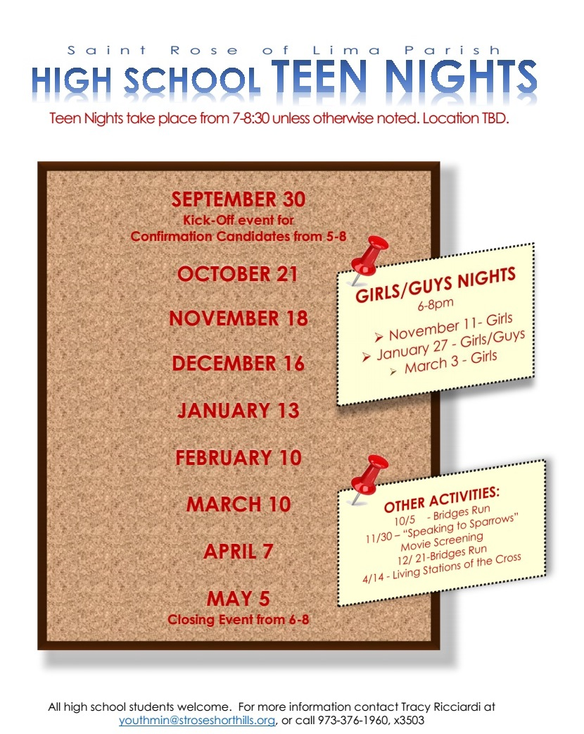 Youth Ministry Calendar